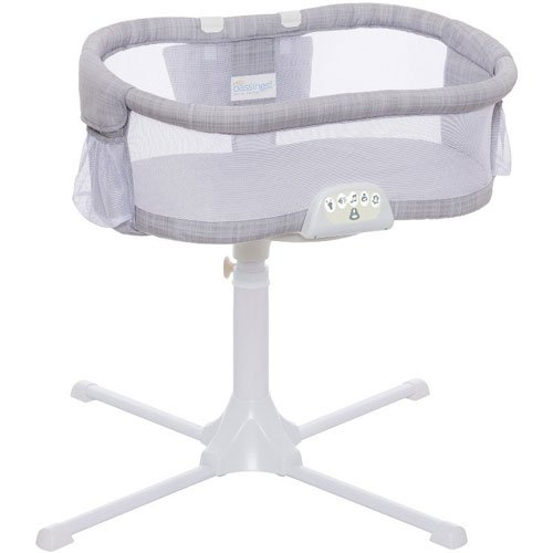 Halo - Swivel Sleeper Bassinet - Luxe PLUS Series - Gray Melange with Storage Caddy