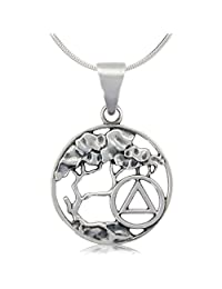 """Alcoholics Anonymous 1"""" Solid 925 Sterling Silver AA Serenity Tree Pendant"""