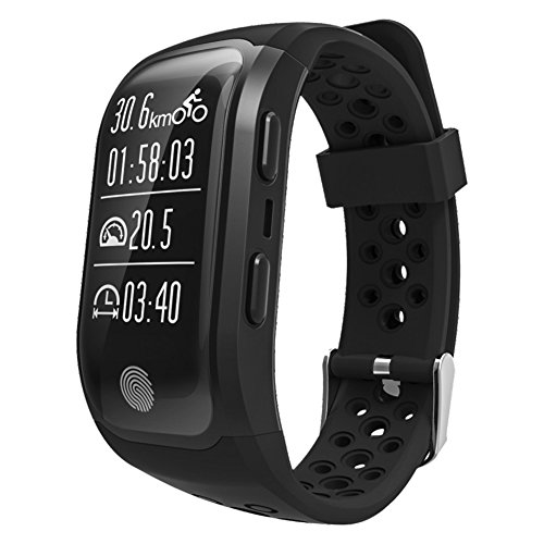 S908 Smart Bracelet GPS Bluetooth Bracelet IP68 Waterproof Wristband Various Sports Models with Heart Rate Monitor for Android and IOS Smart Phones (Black) by Shantan