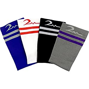 4 Pair Medium/Large Athletic Premium Quality Extra Soft Moderate/Medium Graduated Compression Socks 15-20 mmHg. Nurses, Running, Travel & Flight Knee-High Socks, Mens and Womens Comfort Blend.