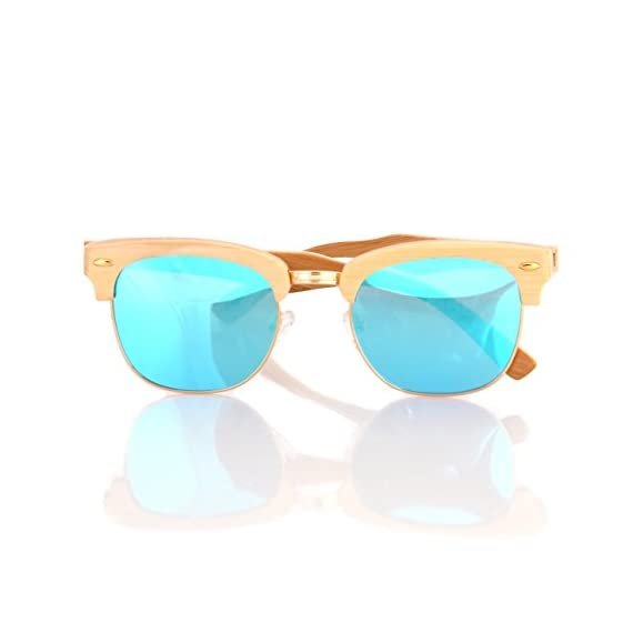 Wood wooden polarized sunglasses natural club half semi-rimless frames w/pouch 2 handcrafted wooden sunglasses- each pair of sunglasses is unique and is made from sustainable wood polarized lenses - our polarized lenses provides crystal clear vision and anti-glare with uv400 protection free microfiber pouch- each pair of sunglasses come with one pouch to store and protect them.