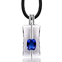 Mens White Gold Sapphire Tanzanite Diamonds Pendant