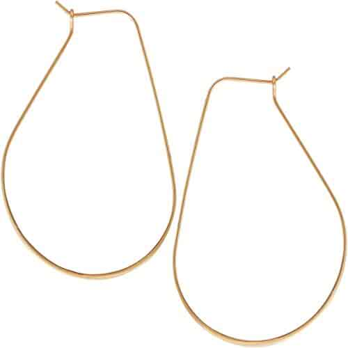cf4b45f11 Lightweight Threader Big Hoop Earrings - Hypoallergenic Geometric Thin Wire  Loop Drop Dangles, Plated in