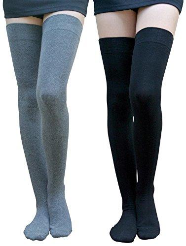 AM Landen Cotton Thigh Highs Socks/Over the Knee Socks(Black+Gray, XL-Wide) (Plus Size High Socks)