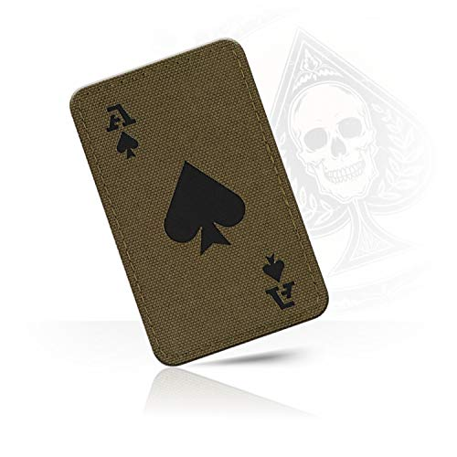 M-Tac Ace of Spades Death Card Tactical Morale Patch Army Combat Hook Fasteners (Ranger Green/Black)