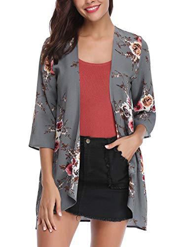 - Aibrou Women's Sheer Chiffon Blouse Loose Tops Kimono Floral Print Cardigans S-XXL Gray