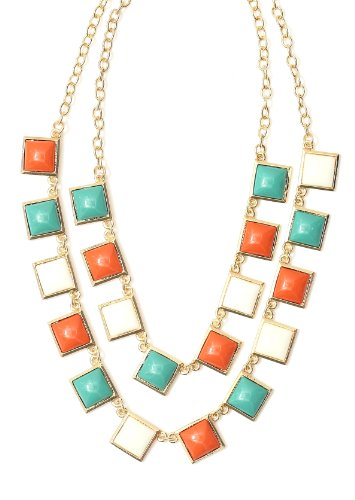 Tiered Mosaic Tiles Necklace Green White Orange NH20 Luxury Statement Choker Collar Fashion Jewelry