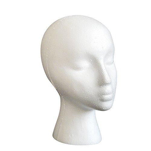 - XILALU Styrofoam Foam Mannequin Female Head Model Dummy Wig Glasses Hat Display Stand beauty accessories (One SIZE, White)