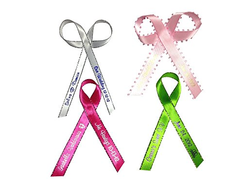 25 Personalized Favors Printed Ribbon 1/4' or 3/8' for Birthday. Baby Shower, Sweet 15, 16 other Occasion