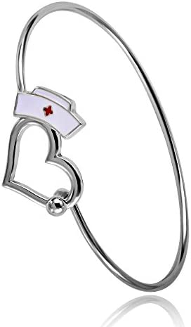 TUSHUO Enfermera Regalo Amor Corazón Brazalete Pulsera Gorro de Enfermería Regalo de Joyería para ángel Enfermera