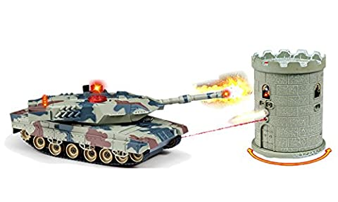 Abrams vs. Terrorist Fort Combat Fight M1A2 USA Tank RC Infrared Battle Panzer by Poco Divo (Military Fort)
