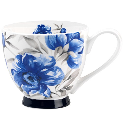 (Portobello Sandringham Blue Peony Bone China Mugs Tea Cups, Set of 2)
