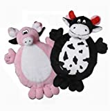 Multipet 2-Faced Crinkle/Plush Dog Toys with Cow/Pig Faces