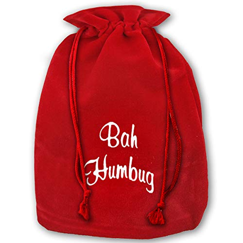 Hweoweek Bags Santa Sack with Drawstring, Bah Humbug Reusable Fabric Present Wrapping Bag