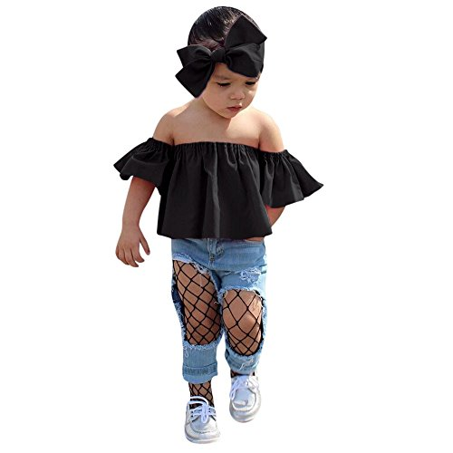 Solid Amplifier Head (Pongfunsy Toddler Baby Girls 2019 Summer Outfits Clothes Fashion Off Shoulder Solid Color Tops T Shirt +Headband Set Black)