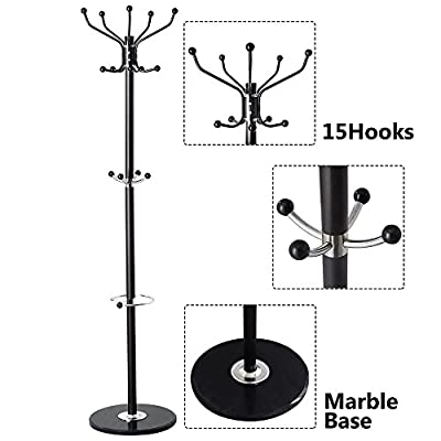 New 15 Hooks Coat Rack clothes Hat Shoes Umbrella Purse Holder Hanger Hall Stand Tree Black Metal