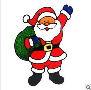 Amazon.com: Christmas decorations Santa Claus glass windows double ...