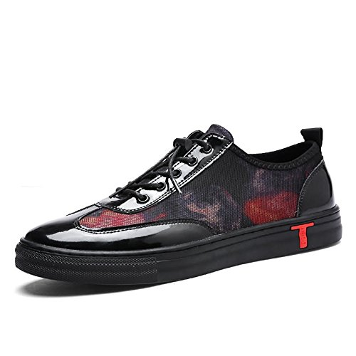 Talon Plat Sneaker Hommes Lace Up PU Vamp Solide Couleur Casual Chaussures,Chaussures de Cricket Black Red