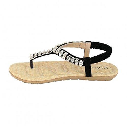 Femmes Gladiateur Roman Cheville T-sangle Sandales Sandales Tongs Chaussures Noir-26