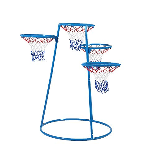 "Angeles 4-Rings Basketball Stand with Storage Bag - 48"" by 36"" by 54"" - for Ages 3+ - with 4 Hoops at Varying Heights, Ball Storage Bag - Encourages Active Play, Hand-Eye Coordination - Non-Tip Base"