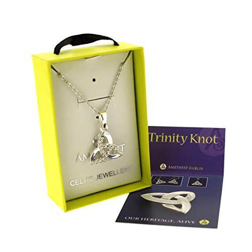Silver Plated Pendant In Trinity Knot Design with Cubic Zirconia Stones on 18