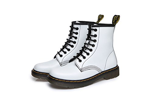 Tortor 1bacha Leren Mode Militaire Laarzen Voor Dames En Heren Wit