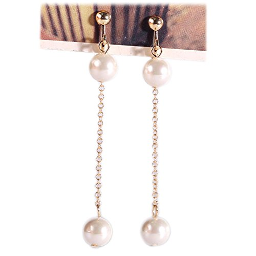 Clip on Dangle Earring Double Simulated Pearl Long Tassel Clip for non Pierced Gold-tone for teen