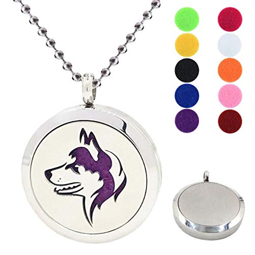 - 30MM Aromatherapy Essential Oil Diffuser Necklace Wolf 316L Stainless Steel Locket Pendant Necklaces Fragrance Jewelry Best Gift with Free 10 Colors Refill Pads