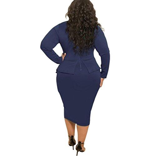3ff7ba698791ff ... YouPue Damenkleid Bow Slim Taille Langärmelige Hüfte Kleid Schößchen  Hohe Taille Bodycon Kleid Navy Blau piWSi ...