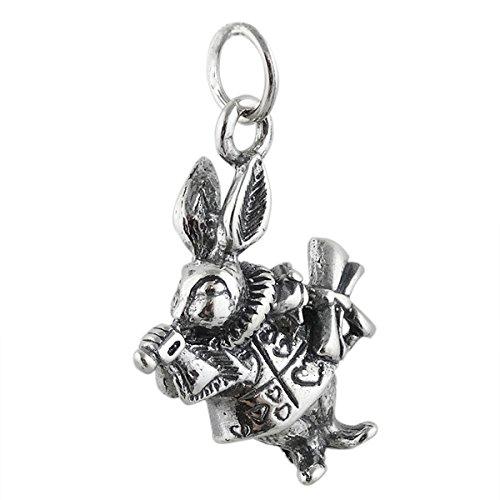 - White Rabbit Charm - 925 Sterling Silver - Alice in Wonderland Watch Date - Jewelry Accessories Key Chain Bracelets Crafting Bracelet Necklace Pendants