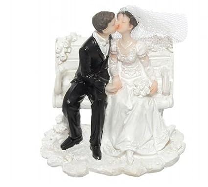 """Decoración Tarta Boda """"novios sobre banco – Cake Topper boda"""