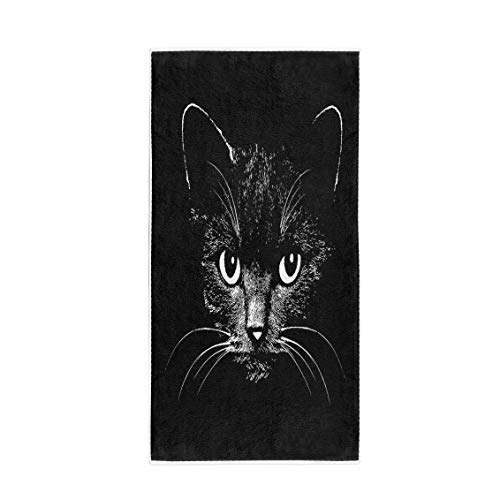 Semtomn 30 x 60 Inches Bath Towel Face Cat Head Graphic Animal Sketch Tattoo Halloween Drawing Soft Absorbent Travel Guest Decor Hand Towels Washcloth for Bathroom(One Side Printing)