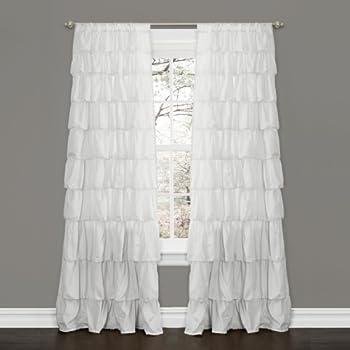 Lush Decor Ruffle Window Curtain Panel 84 By 50 Inch White