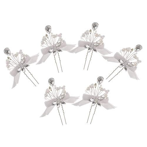 6pcs Elegant Stud Crystal Diamante Wedding Bridal Prom Luxury Hair Pins ()