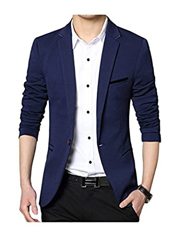 Men's Slim Fit Casual One Button Formal Suit Blazer Coat Jacket Navy US Small/Label XX-Large - Breasted Navy Blazer