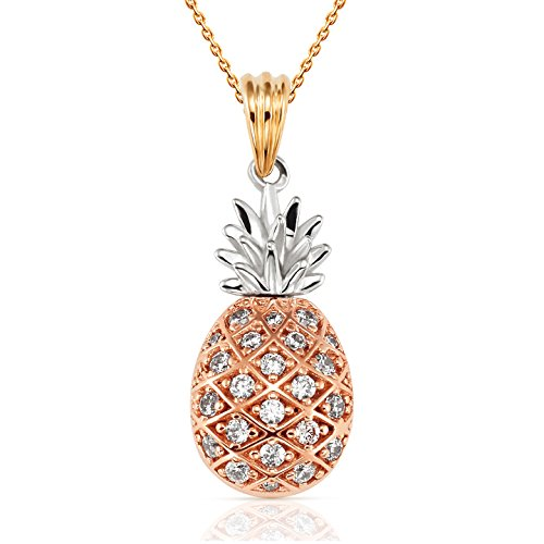 Tri Color Pineapple CZ Pendant in 14K Yellow, White and Rose Gold by Jewel Connection