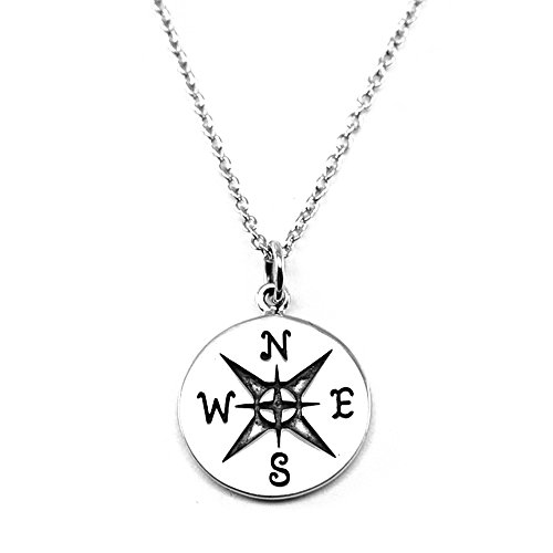 Compass Sterling Silver Charm Necklace (Large Compass)