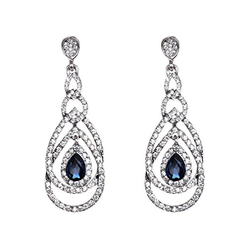 XIEXIE Earring Sapphire Jewelry Women Wedding / Party / Daily Crystal 1 pair Royal Blue / Regency , royal blue , one size