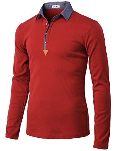 H2H Mens Casual Slim Fit Long Sleeve Polo T-Shirts of Various Styles Wine US 3XL/Asia 4XL (KMTTL0471)