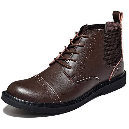 Stivali Chelsea Boots Uomo Pelle Oxblood Desert Brogue Classic Stivali Invernali in Pelle Scarpe Casual Stivali in Pelle Brown