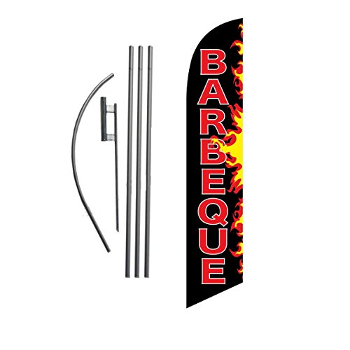 Barbeque BBQ Flames Feather Banner Swooper Flag Sign with Flag Pole and Ground Stake