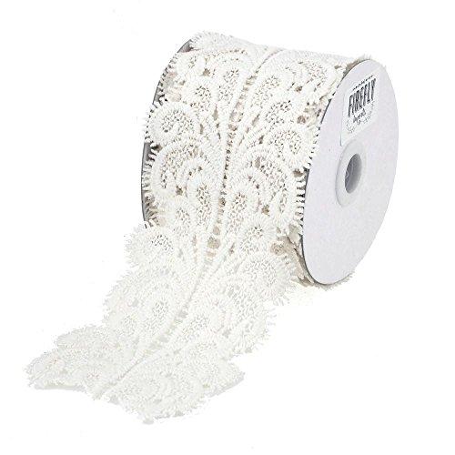 (Homeford FCR00000LT002WHT Paisley Crochet Lace Trim Ribbon, 3