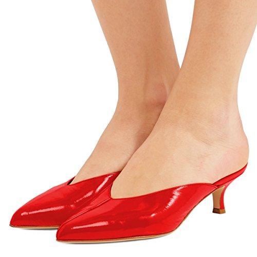 XYD Women Mule Slide Sandals Low Kitten Heel Pointed Toe Slip On Patent Slipper Shoes Red