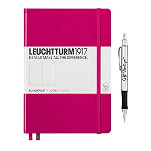 Leuchtturm1917 Medium Size Hardcover A5 Berry Notebook - Dotted Pages with Gift Boutique Pen