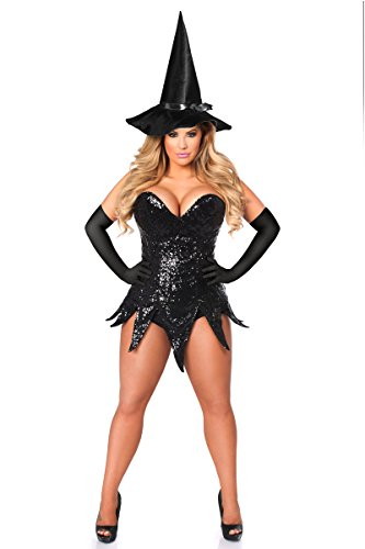 Daisy Corsets Women's Top Drawer Sequin Witch Corset Dress Costume, Black, 2X (Black Sequin Witch Costume)