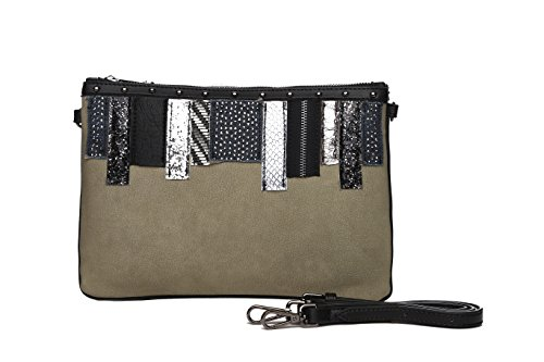 bolsos bolso fiesta de mano mujer tela Mambo MUNDOS MAMBO bolsos Oscuro de Bolsos OTROS de Verde clutch diario DE Bolsos y marrón 7nFZq