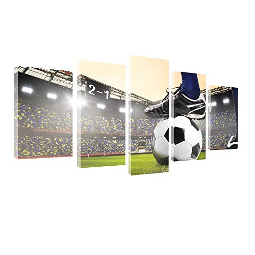 - gold mi 5 Panels Wall Art Canvas Painting for Kids' Room Wall Decor Soccer Match Artwork Football Course Wall Pictures Home Decorations Game Room Frame (8x14inchx2+8x18inchx2+8x22inchx1)