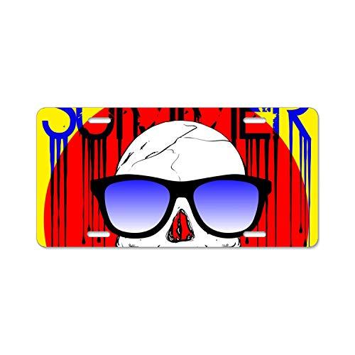 KSLIDS Skull Wearing Sunglasses License Plate,Fashion Style Print,Alumina Novelty Plate,6 L X 12 W ()