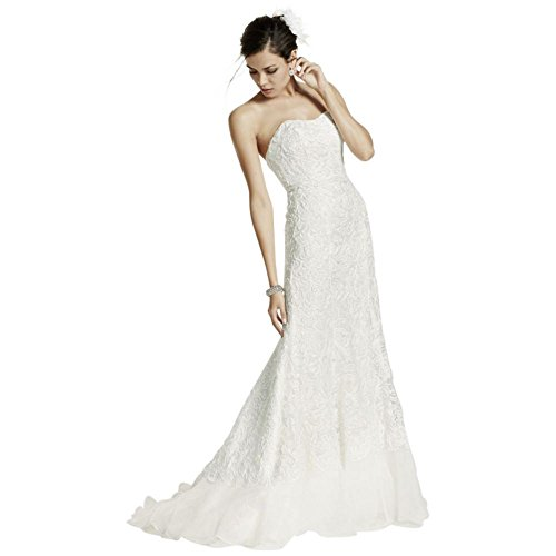 Length Lace Style White Extra Over David's 4XLSWG400 Soft Bridal Gown Charmeuse w6OE7Hq