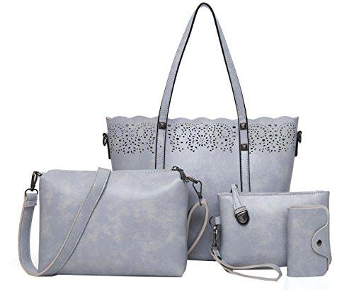 Juilletru Grey 4 Pcs Women's Tote Bags Leather Handbags Top Handle Vintage Purse Crossbody Shoulder Bag Set